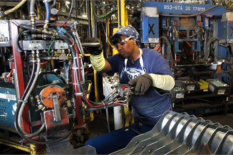 A worker at the Arlington plant. Photo by Mike Stone for Chevrolet.