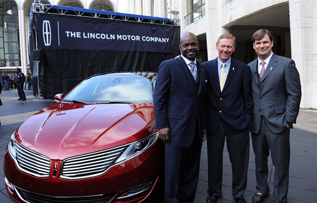 (L-R) Emmitt Smith, Alan Mulally and Jim Farley attend as Ford Unveils New Brand Direction For Lincoln At New York Press Event on December 3, 2012 in New York City.