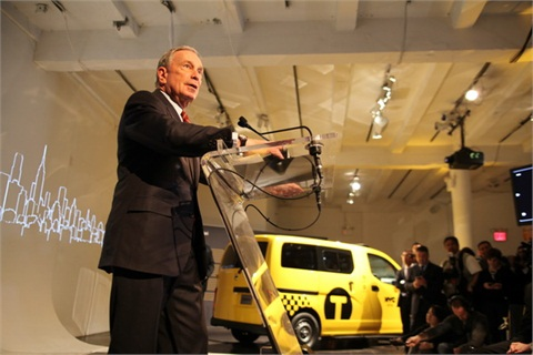 "NYC's Mayor Michael Bloomberg joined Nissan CEO Carlos Ghosn in unveiling the ""Taxi of Tomorrow"" in early April, 2012.