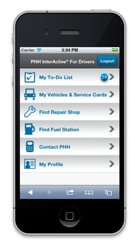 With PHH InterActive for Drivers Mobile, drivers can complete fleet-related tasks from their smartphone.