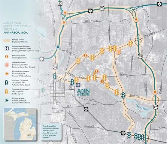 The map shows the Ann Arbor-area plan for the Safety Pilot program being conducted by UMTRI. Image courtesy UMTRI.