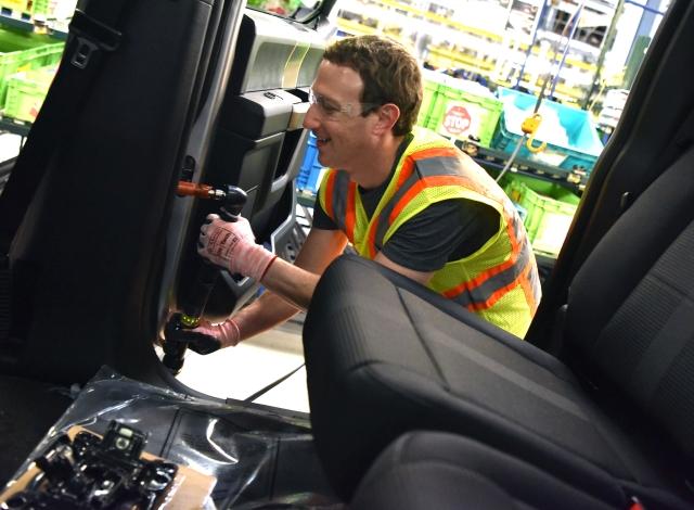 Facebook's Zuckerberg Checks Out Dearborn Truck Plant