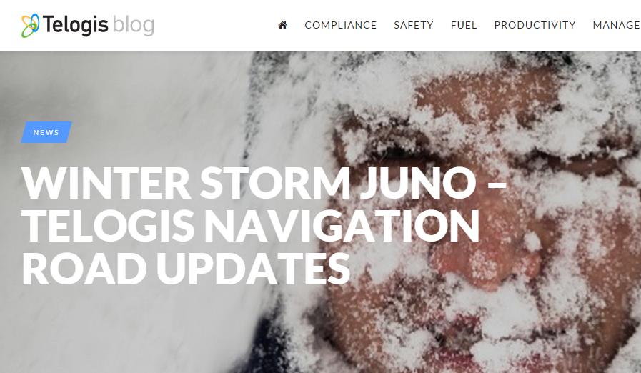 Telogis Providing Road Updates for Juno Storm