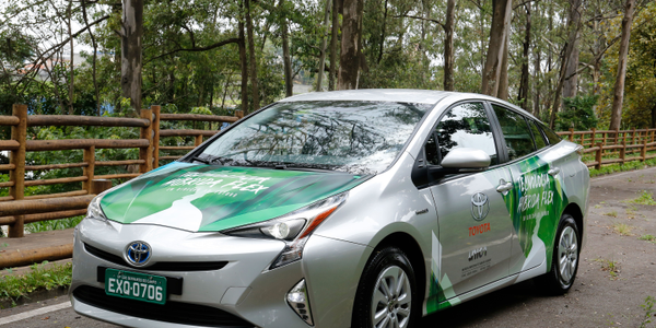 Toyota's hybrid flexible-fuel vehicle prototype uses the Toyota Prius as a base model. Photo...