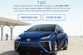 Toyota Opens Ordering for Mirai Fuel Cell Sedan