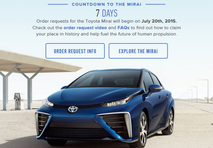 Toyota Opens Ordering for Mirai Fuel Cell Sedan