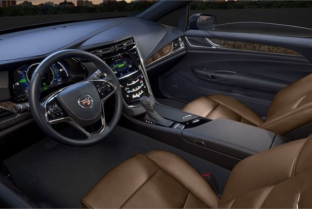 The Cadillac ELR comes standard with the Cadillac CUE infotainment system and features a leather-trimmed interior.
