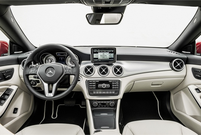 Mercedes offers a 5.8-inch display or a 7-inch display as part of an optional Multimedia package. Photo courtesy Mercedes-Benz.