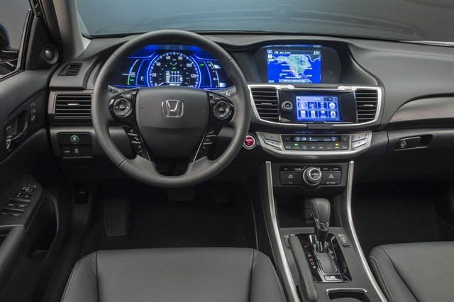 Inside, the 2014 Accord Hybrid features a number of safety functions, including the LaneWatch blind-spot monitoring system, lane departure warning, forward collision warning,and a multi-angle rearview camera with guide lines.