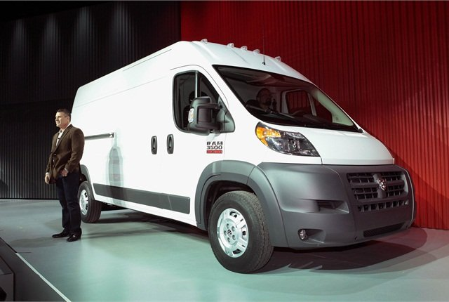 <p>Chrysler's Fred Diaz introduces the Ram ProMaster at the Chicago Auto Show. Photo courtesy Chrysler.</p>