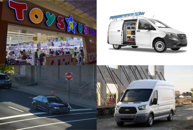 (Clockwise l. to r.) Toys 'R' Us arrest, Mercedes-Benz Metris Worker, 2017 Ford Transit, and Audi's corporate car sharing