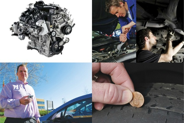 (Clockwise from l. to r.) Ford's EcoBoost engine; preventative maintenance; tire safety; and Element's Jim Halliday