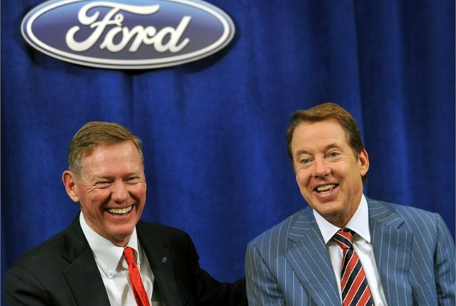 Alan Mullaly (left) seen in 2013. Photo courtesy of Ford.