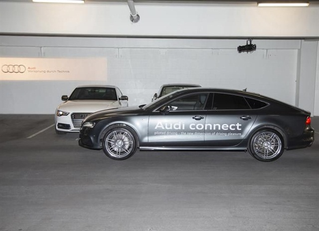 Audi's piloted parking technology allows the vehicle to park itself. Photo courtesy Audi.