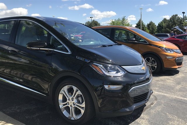 Photo of Chevrolet Bolt EVs at the 2017 Green Drives Conference and Expo courtesy of the Lake Michigan Consortium