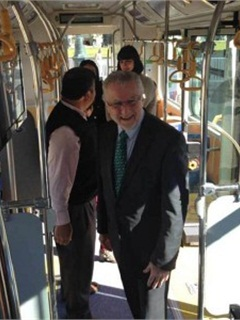 Maximo Pacheco on board the pure electric BYD k9. Photo: BYD