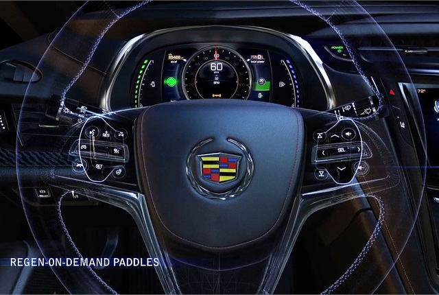 The shifters give the driver more control over regenerative braking. Photo courtesy General Motors.