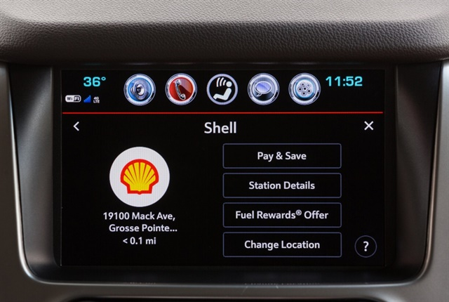 Photo of Chevrolet Marketplace screen with Shell icon courtesy of GM.