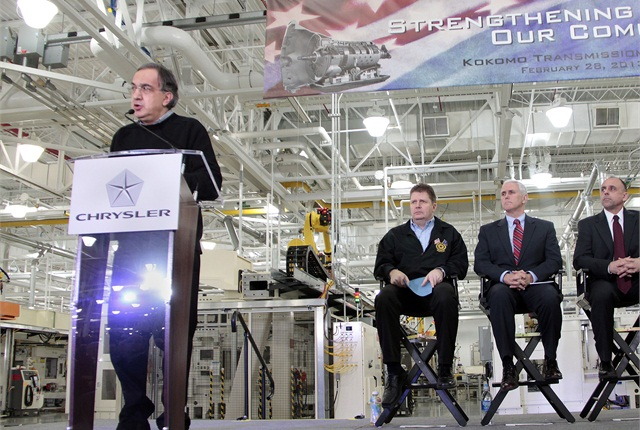Chrysler Group LLC Chairman and CEO Sergio Marchionne addresses employees and invited guests during a celebration event at Chrysler Group's Kokomo Transmission Plant in Indiana on Feb. 28, 2013. Photo courtesy Chrysler.