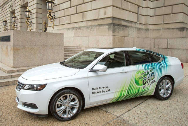 While EPA estimates on the vehicle are not yet finalized, an approximately eight gasoline-gallon-equivalent CNG tank mounted in the Impala's trunk is expected to provide up to 150 miles of vehicle range for a total range of up to 500 miles.