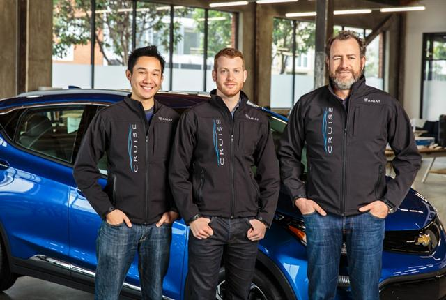General Motors President Dan Ammann (right) with Cruise Automation co-founders Kyle Vogt (center) and Daniel Kan (left). Photo courtesy of GM.
