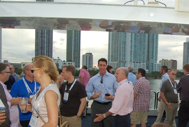 Attendees socializing aboard the 2016 LeasePlan cruise Biscayne Bay. File Photo.