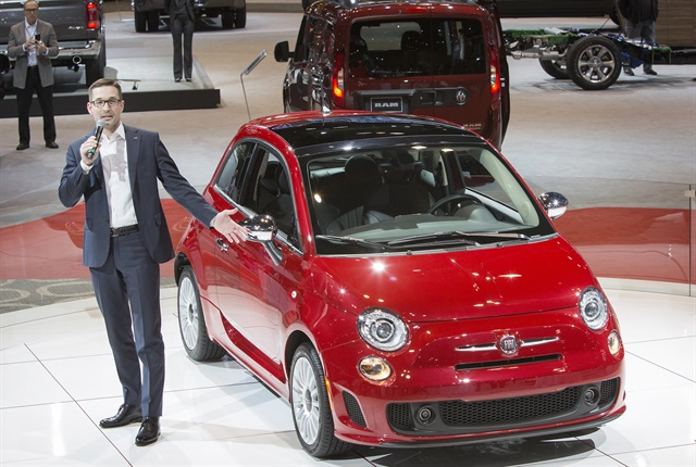 Photo of Matt McAlear, FCA's senior manager of product development for passenger car brands, with 2018 Fiat 500 courtesy of FCA.