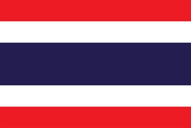 Thailand flag courtesy of Wikimedia Commons.