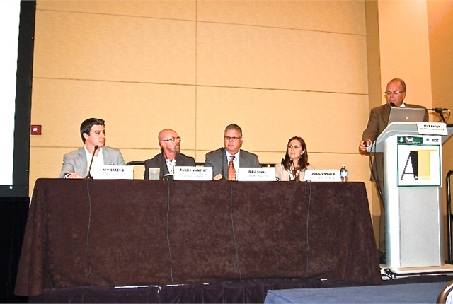 During the 2014 Fleet Safety Conference, Mike Antich of Bobit Business Media moderates a panel on distracted driving.