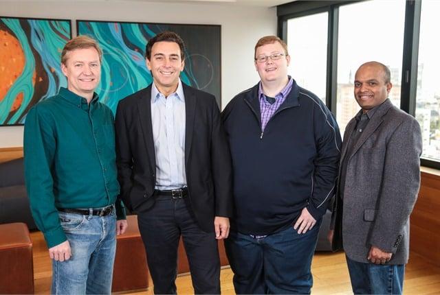 (from l. to r.) Peter Rander, Mark Fields, Bryan Salesky, and Raj Nair