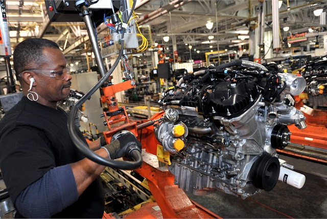 Ford is moving production of its 2.0L EcoBoost four-cylinder engine to the Cleveland Engine Plant in Ohio. Pictured is Ramond Williams, a worker at the plant. Photo courtesy Ford Motor Co.