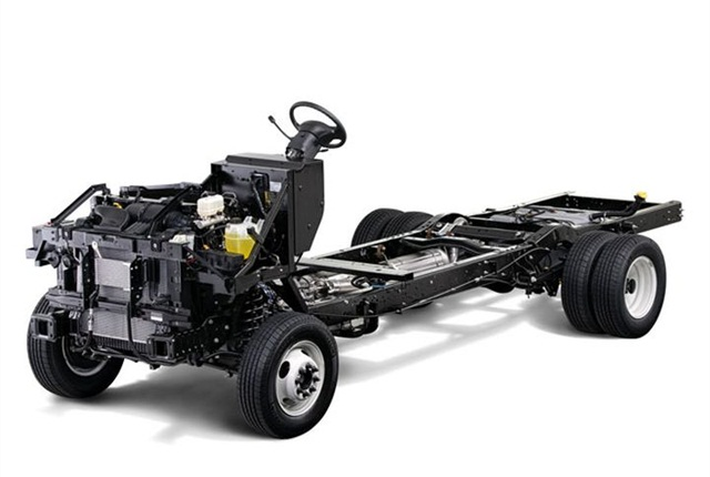 Photo of E-450 stripped chassis courtesy of Ford.