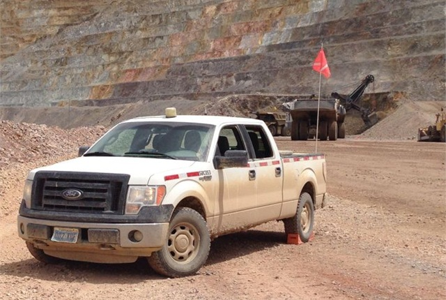 Barrick Gold Corp. used this 2015 F-150 at its Nev. mine. Photo courtesy of Ford.