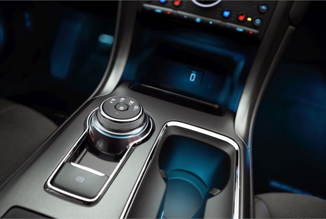 Photo of 2017 Fusion Sport cupholder courtesy of Ford.