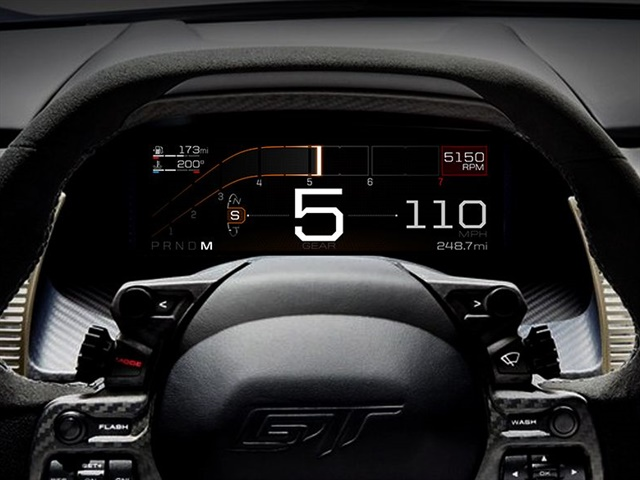 Photo of GT instrument cluster in Sport mode courtesy of Ford.