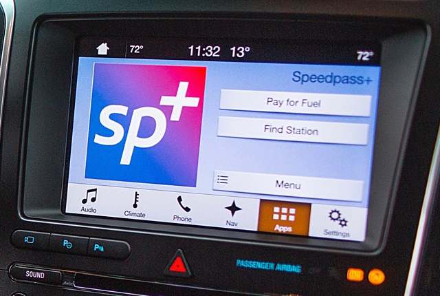 Photo of ExxonMobil's Speedpass+ app on a touchscreen courtesy of Ford.