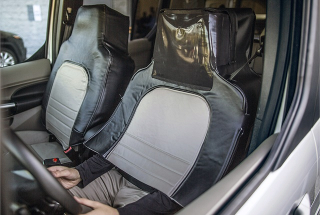 A driver wearing the seat suit developed by Virginia Tech Transportation Institute. Photo courtesy of Ford.