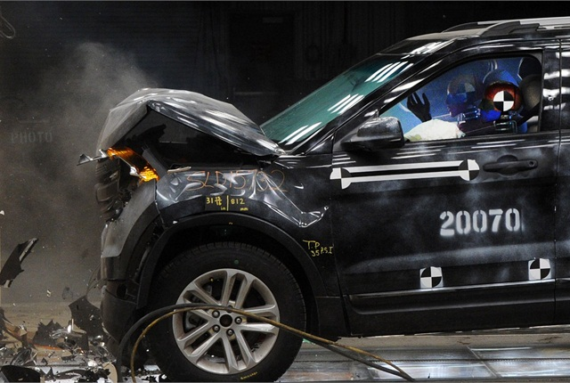 Computer simulations precede physical crash tests such as this one. Ford's Dearborn facility has performed more than 20,000 physical crash tests since 1954. Photo courtesy of Ford Motor Co.