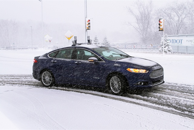 To navigate snowy roads, Ford autonomous vehicles are equipped with high-resolution 3D maps – complete with information about the road and what's above it, including road markings, signs, geography, landmarks and topography. Photo courtesy of Ford.