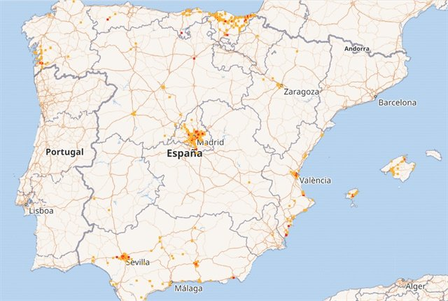 Map of Spain via Geotab.