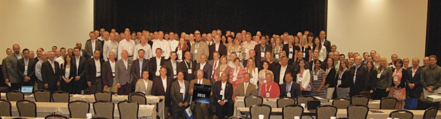 "Posing for a ""class picture"" were 98 of the more than 200 who attended the 2015 Global Fleet Conference in Miami. Photo: Chris Wolski"