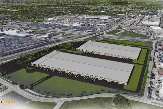 Rendering of automotive logistics center courtesy of GM.