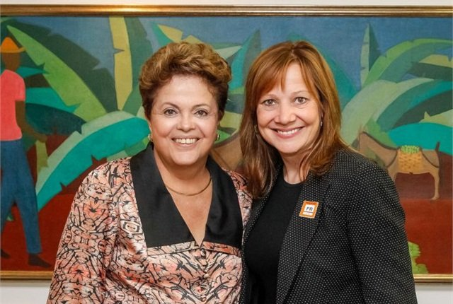 Photo of Brazilian President Dilma Roussef with CEO Mary Barra courtesy of GM.