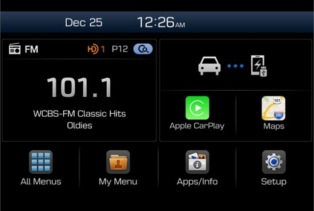 Photo of Apple CarPlay screen courtesy of Hyundai.