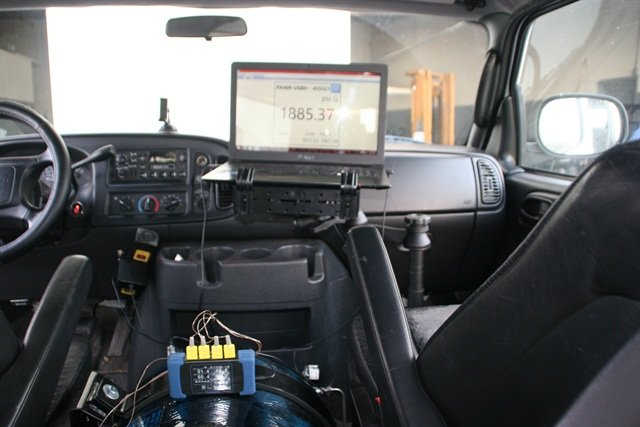Test instruments in a Dodge Ram van measures gas flow and engine performance. ANG tank sits between the seats per customer's request. Photo courtesy of Cenergy Solutions.