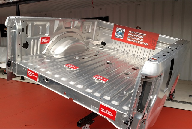 Aluminum cargo bed is stronger and lighter than steel, Ford says. Photo by Tom Berg.