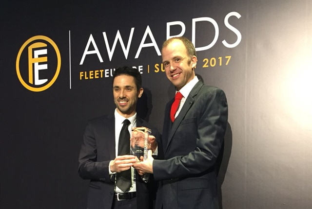(From l. to r.) Davide Ghione, head of enterprise sales, Tesla. and Hamish Phillips, enterprise sales manager, Tesla, accepted the International Fleet Industry Award on behalf of Tesla.