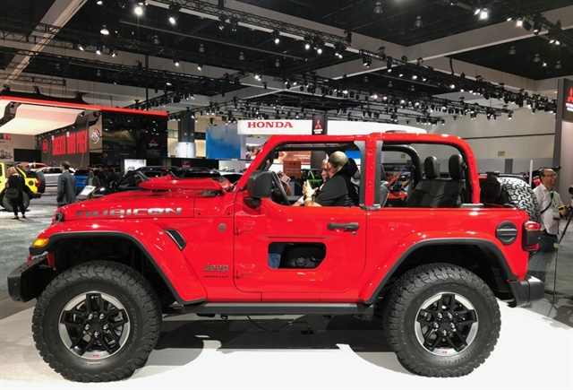 Jeep's 2018 Wrangler Rubicon on display at the Los Angeles Auto Show. Photo by Paul Clinton.