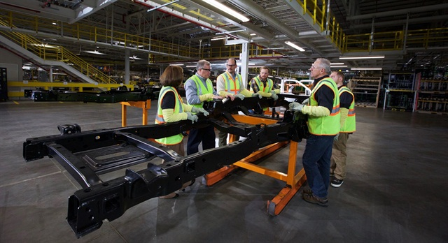 Super Duty insiders go through the frame review process. Photo: Ford