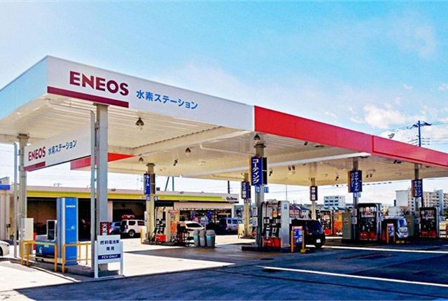 Hydrogen station in Ebina, Kanagawa, Japan. Photo courtesy of Honda, Nissan, and Toyota.